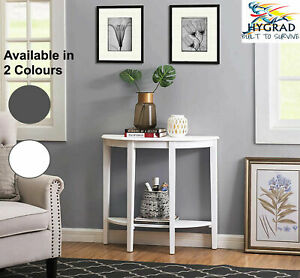 Wooden Half Moon Round Hallway Entrance Console Table Furniture In Gold & White