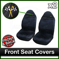 BLACK Car Seat Covers UNIVERSAL Protectors PAIR x 2 Water Proof FRONT