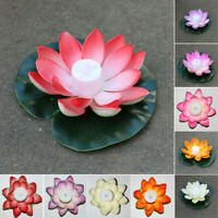 Solar Power LED Color Changing Lotus Flower Floating Lamp DIY Garden Pool Light
