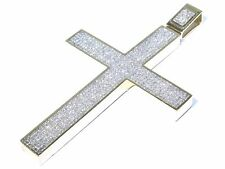 Big14k Yellow Gold 33.00ct Princess Cut White Diamond Sleek Cross Pendant 105.1g