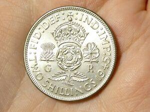 1945 Two Shillings Florin George VI  English 50% silver  #R101