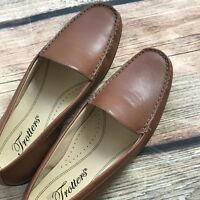 Women's Trotters Brown Leather Loafers Flats Shoes Sz 6M Casual Slip On Oxfords