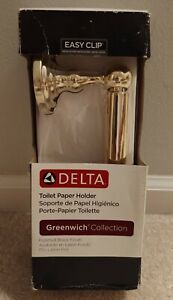 *NEW! NIB DELTA Greenwich Collection Toilet Paper Holder 138280 Polished Brass*