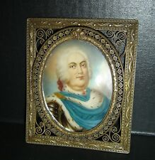 Antique Augustus III of King of Poland Portrait Miniature Painting De Sylvestre.