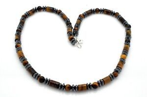 Mens Bead Necklace Tiger's Eye Hematite 925 Sterling Silver Clasp Handmade in UK