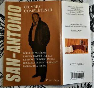SAN-ANTONIO - OEUVRES COMPLETES - FLEUVE NOIR 1995 - TOME 3 - TBE