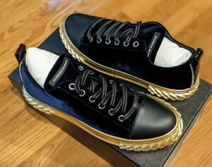 """$650 Mens Giuseppe Zanotti """"Blabber"""" Suede Low-Top Sneakers Navy/Gold 44 US 11"""