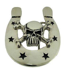 New Horseshoe Belt Buckle Silver Skull Halloween Silver Rock Rebel Gothic Tattoo
