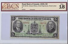 Royal Bank of Canada 1935, $5 Bill  B12