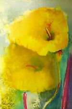 """VICTORIA MONTESINOS """"YELLOW LILY"""" Hand Signed Limited Edition Lithograph Art"""