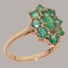 Solid 9k Rose Gold Natural Emerald Womens Cluster Ring - Sizes 4 to 12
