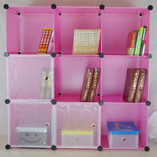 MODULAR 9 CUBE STORAGE SOLUTION ORGANISER / SHELVES / UNIT / FURNITURE - PINK