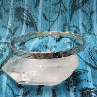 """Vintage Taxco Twisted Sterling Silver Flat Hammered Bangle Bracelet Large 8 3/4"""""""