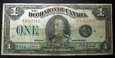 1923 DOMINION OF CANADA ONE DOLLAR NOTE BLACK SEAL