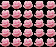 Resin Cabochons 20 Pink Roses Retro Flowers 10mm