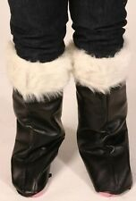 Black Santa Boot Covers With White Fur Trim Christmas Xmas Fancy Dress P5956