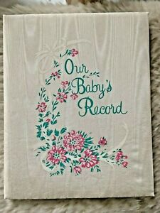 New VTG 1941 Our Baby's Record Book C.Juneau Sanitoy Satin Baby Bk Original Box