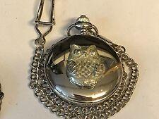 Owl TG116 Pewter on a Silver Pocket Watch Quartz fob
