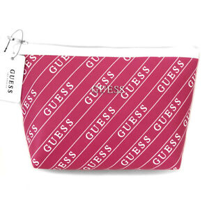 GUESS Large Pink Logo Makeup Bag Cosmetics Case New Perfect Gift