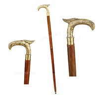 Antique Brass Eagle Head bird Handle Brown Wood Walking Stick Cane Vintage Gift