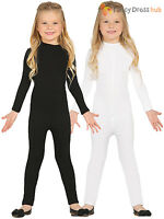 Child Spandex Suit Girls Boys Black White Plain Bodysuit Kids Fancy Dress Dance