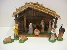 VTG SEARS NATIVITY SET TRIM SHOP #97169 ORG BOX WOODEN STABLE 11 FIGURES