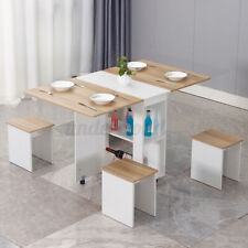 Rolling Dining Table Kitchen Trolley Folding Room Breakfast Furniture w/4 Chairs
