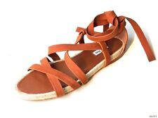 new MIU MIU PRADA brown suede X-strap ties flats espadrille sandals shoes 40 10