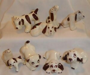 9 CALIFORNIA POTTERY RIO HONDO ? DOGS / HOUNDS LAYING DOWN SITTING PEEING HOWL