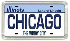 "Chicago Illinois License Plate Acrylic Small Fridge Souvenir Magnet 2"" X 1.25"""