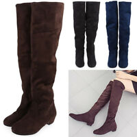 Womens Ladies Flat Low Heel Over The Knee Boots Suede Thigh Heel Stretch Shoes