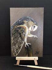 """Barn Owl Oil Painting David Ferrero Original 6x4"""" 3mm MDF"""