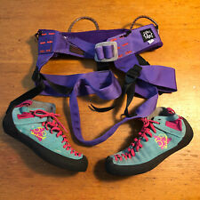 Vintage Chouinard Harness Medium And 5.10 Vertical Rock Climbing Shoes 38 Lot