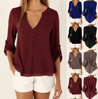 Women's Ladies Casual Loose Chiffon Long Sleeve Blouse Tops T-Shirt