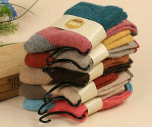 5 Pairs Women Wool Cashmere Thick Winter Socks Warm Soft Solid Casual Sports