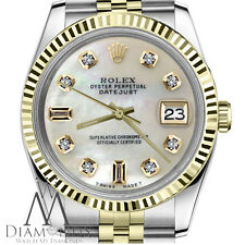 Men's Rolex 36mm Datejust 2 Tone White MOP Mother Of Pearl 8+2 Diamond Dial