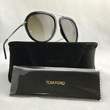 NWOT Tom Ford TF452 Stacy Black Aviator Metal Frame Sunglasses 57-16 w Case