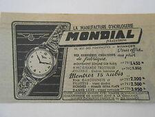 Montre 15 Rubis Horlogerie Mondial à Besançon Publicité Ancienne 1951