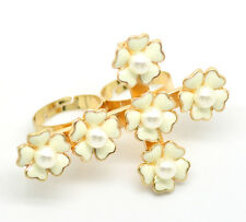 3PCs Gold Plated Flower Cross Adjustable Two Fingers Double Rings 18.3mm US 8