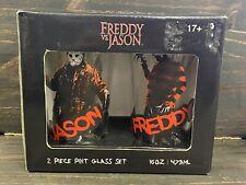 Freddy Vs. Jason 2 Piece Pint Glass Set 16 Oz Each Nightmare Elm & Friday 13th