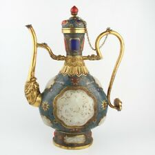 Antique Chinese Collection Copper Cloisonne Hetian Jade Dragon Flagon