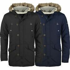 MENS PARKA PARKER PADDED LINED WINTER JACKET FAUX FUR HOODED COAT NEW