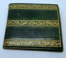 Vintage Italian Green Leather Gold Embossed Bi-Fold Wallet