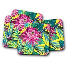 4 Set - Purple Lotus Flower Coaster - Floral Flowers Lily Girls Mum Gift #14722