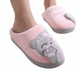 Girls Cat Plush Pink Warm Soft House Home Indoor Anti Slip Slippers