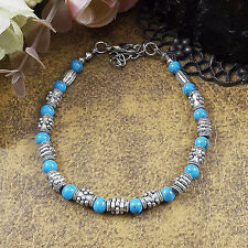Hot Fashion Tibetan Silver Jewelry Beads Bangle Turquoise Chain Bracelets S39