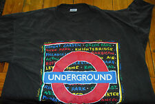 ORIGINAL 1991 LONDON UNDERGROUND TRAIN TUBE METRO SUBWAY BLACK XL T-SHIRT