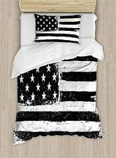 United States Duvet Cover Set Twin Size, Grunge Aged  American Flag Independen