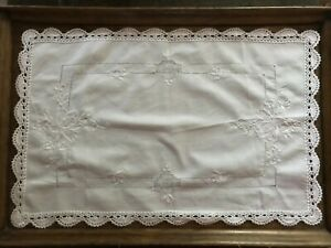 Vintage white tray cloth