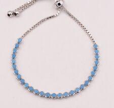 3.7mm Turquoise Round Bezel Set Adjustable Tennis Bracelet Sterling Silver 925